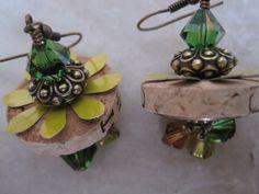 OOAK Cork Earrings with Soda Can Tin Swarowski by ShimmerJewelry, $18.00