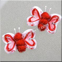 Valentine's Butterfly Hair Clip Valentine Hair Clip Valentine Hair Bow Pink Red White--sequins and glitter are good too. Hair Ribbons, Diy Hair Bows, Diy Bow, Ribbon Bows, Ribbon Hair, Barrettes, Hairbows, Head Band, Butterfly Hair