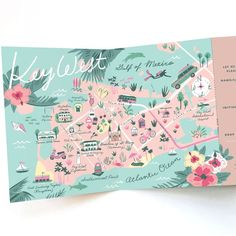 Wedding Invitation Map - Tri-fold Invitation - Key West, Florida - Destination Wedding - Any Location Map Wedding Invitation, Anniversary Invitations, Invitation Wording, Wedding Stationery, Invitation Cards, Wedding Anniversary, Invites, Spot Illustration, Map Illustrations