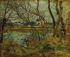 Jour gris : Bords de l'oise, par Camille Pissarro