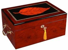 Quality Importers Deauville 100 Cigar Humidor, High Gloss with Tobacco Leaf I... #QualityImporters