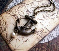Anchor Necklace with Vintage Pearl by ReneeLoughlinDesigns on Etsy. $22.00, via Etsy.
