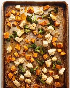 Sheet Pan Tofu Teriyaki is the ideal weeknight vegetarian dinner. This recipe is well balanced since it includes sweet potato, broccoli and protein. Douse all three in plenty of teriyaki sauce for flavor. Tofu Recipes, Vegetarian Recipes, Healthy Recipes, Potato Recipes, Vegetable Recipes, Drink Recipes, Healthy Foods, Sweet Recipes, Easy Recipes