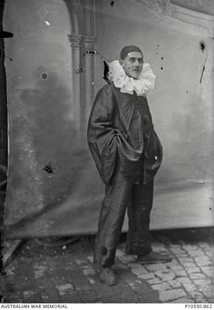 Member of a theater troupe. From the Thuillier collection of 800 glass plate negatives. Taken by Louis and Antoinette Thuillier in Vignacourt, France during the period 1916 to 1918. Australian War Memorial.