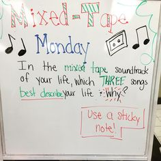 Mixed Tape Monday- in the mixed tape soundtrack of your life, what 3 songs best describe your life ( or could best describe your day)? Morning Activities, Writing Activities, Writing Strategies, Morning Board, Monday Morning, Monday Friday, Wednesday, Journal Topics, Journal Prompts