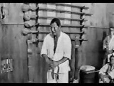 Shirai Hiroshi (makiwara training).  (black and white)