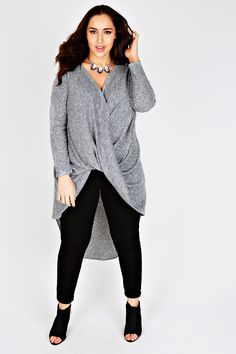 Grey Marl Ribbed Twist Front Extreme Dip Back Top
