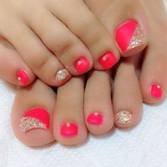 Coral Pink Toe Nail with Gold Glitter and Rhinestones.