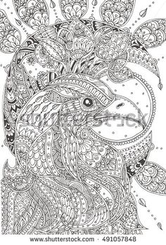 Eagle With Ethnic Floral Doodle Pattern Coloring Page