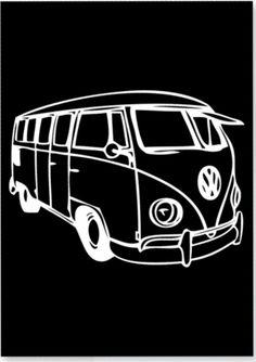 Zwart Wit Kaart Volkswagen busje!  Unieke kaart met een Volkswagen busje, with love! VW busje  Een mooi ontwerp van byBean.  Om te versturen maar ook leuk als decoratie in huis aan een woonketting of in een lijstje .    Formaat A6 en gedrukt op 350 grams  - € 1,50