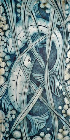 My Farther's fish pond. Collagraph print.