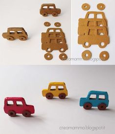 DIY Toys- do something like this with the cricut? Cardboard Car, Cardboard Crafts, Paper Crafts, Projects For Kids, Diy For Kids, Crafts For Kids, Project Ideas, Tube Carton, Homemade Toys
