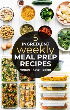 Half the battle when it comes to eating a healthy gluten free diet is simply planning and meal prepping A TON a once. Here's a resourceful round of up of my go to weekly meal prep recipes using just 5 types of ingredients. Save money and time! Vegan, paleo, Keto, and gluten free/dairy free options. #mealprep #makeahead #casseroles #vegan #paleo #glutenfree #easyrecipe #30minutemeals #healthy #keto
