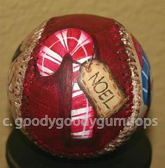 Handpainted Christmas Baseball  by mudpiestudio, via Flickr