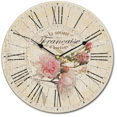 # French, Clock, Roses
