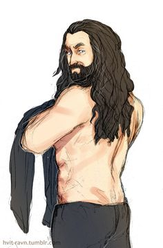 Anonymous asked: Im sure you got better things to do but Id love to see shirtless (sorry) Thorins back and he turns his head to his shoulder so we can see his profile. Like he was thinking Whos creeping there behind me? Pretty please?; )
