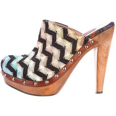 Pre-owned Missoni Chevron Clogs (370 PEN) found on Polyvore featuring shoes, clogs, blue, multi color platform shoes, wooden heel shoes, missoni shoes, blue platform shoes and multi color shoes