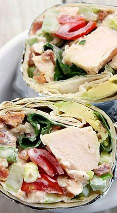 Bacon Lettuce Avocado Tomato Chicken Salad Wraps