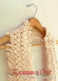 Cream Infinity Scarf Hairpin Lace Cowl by TinyBitsOfCraft on Etsy, $34.00