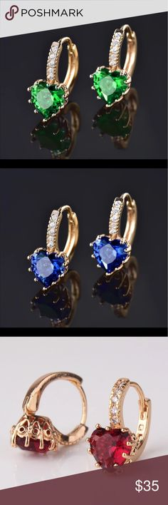 Ladies Color Stone 18K Gold Plated Earrings Fashion Lady's Hoop Earings Gold-Color AAA Zirconia Crystal Huggie Earring for Women Accessories Queen Esther Etc Jewelry Earrings