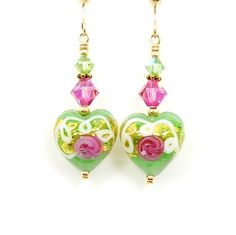 Handcrafted earrings with Venetian Murano lampwork glass beads, Swarovski Crystal, and 14K gold filled components.    These beautiful earrings are