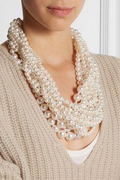 Tom Binns|Ultra Pearl silver-plated Swarovski pearl necklace|NET-A-PORTER.COM
