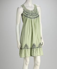 Take a look at this Green Lace Dress by Shabri Fashions on #zulily today!
