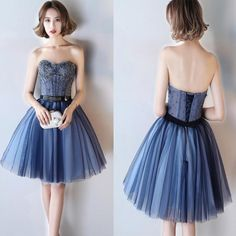Lovely A-line Royal Blue Junior Strapless Sweetheart  Lace Up Back Beads Homecoming Prom Dresses,wg154