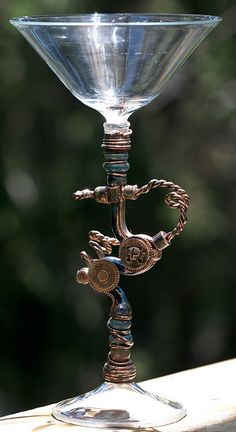 "Martini glass in a ""Steampunk"" style. -- I would love a whole set for my house (when I have one some day)"