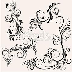 Noir, Blanc, Fleur, Motif, Design Illustration vectorielle libre de droits