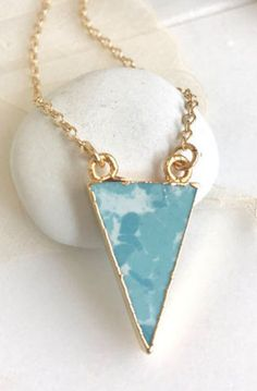 Triangle Pendant Necklace in Turquoise