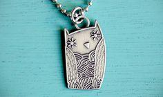 OWL NECKLACE - unique jewelry, cast metal - original silver owl necklace pendant charm by boygirlparty via Etsy