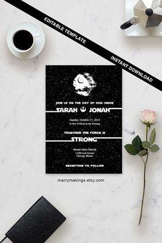 Star Wars Wedding Invitation Set Digital Custom Invitations