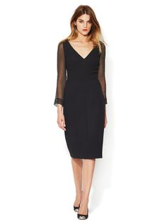 Prada Crepe Wool Sheer Sleeve Dress