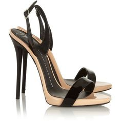 Giuseppe Zanotti Coline two-tone patent-leather sandals ($335) ❤ liked on Polyvore #giuseppezanottiheelsblack #giuseppezanottiheelssandals