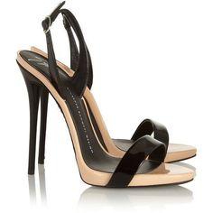 Giuseppe Zanotti Coline two-tone patent-leather sandals ($335) ❤ liked on Polyvore #giuseppezanottiheelsblack #giuseppezanottiheelspumps