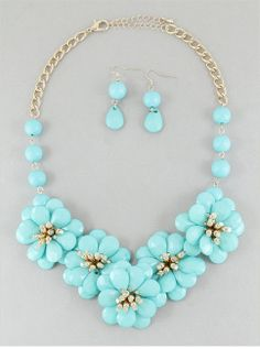 Aqua Blooms Necklace & Earring Set from P.S. I Love You More Boutique. www.psiloveyoumoreboutique.com