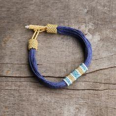 Blau Bettwäsche Armband Marine Schmuck organisch von Naryajewelry