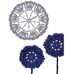 No.40 Bachelor's Button Crochet Flower Motifs / 센토레아 코바늘 플라워 모티브도안