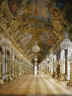 Dollmann,Georg von.Mirror Gallery at Herrenchiemsee Palace, built 1879-1881 by order of Ludwig II of Bavaria in homage to Ludwig XIV on Herrenchiemsee Island in Chiemsee Lake, Bavaria.
