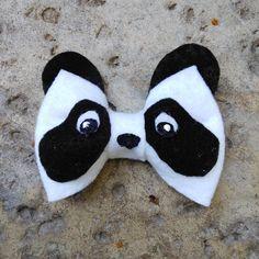 Diy Crafts - pandahairbow,pandahairclip-Panda Hair Bow Animal Bows Hair Clip Clip On Bow Tie Teen Handmade Hair Bows, Diy Hair Bows, Diy Bow, Hair Ribbons, Ribbon Hair, Ribbon Bows, Ribbon Flower, Clip On Bow Ties, Bow Hair Clips