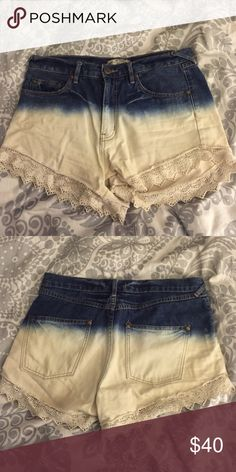 Free People Denim Ombré Cut Offs Ombré cut offs! Just not my style. EUC barely worn. Lace on bottom adds a little something extra Free People Shorts Jean Shorts
