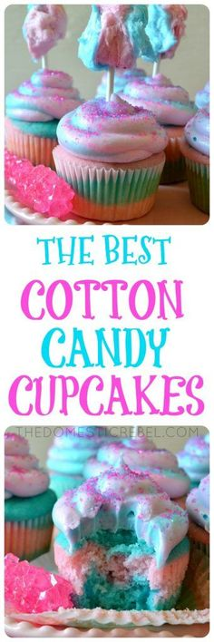 These Cotton Candy Cupcakes are so delicious and the BEST I've tried! Moist and fluffy cotton candy-flavored cupcakes topped with a swirl of pastel cotton candy buttercream and fluffy cotton candy pop (Bake Goods Sale)