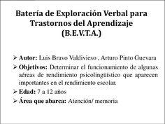 Batería de Exploración Verbal para   Trastornos del Aprendizaje            (B.E.V.T.A.) Autor: Luis Bravo Valdivieso , Ar... Fails, Math Equations, Psp, Blog, Water Cycle, Sign Language, Dyslexia, Blogging