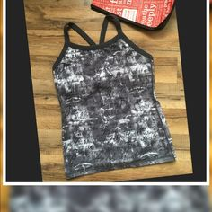 Lululemon Yoga Tank Lululemon Yoga Tank Top Size-8 Verified size dot inside bra-liner.. Color: Dark Gray/Black Print of encouraging words over screen of White &Gray ... Hangtag not in place/ No bra pads... Excellent Used condition.. The back has a strip of Gray mesh with a pocket at the bottom..Very Unique Top Comes with Lululemon Red bag✅ lululemon athletica Tops Tank Tops