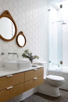 Tiny house bathroom - Looking for small bathroom ideas? Take a look at our pick of the best small bathroom design ideas to inspire you before you start redecorating. Mid Century Modern Bathroom, Modern Bathroom Tile, Laundry In Bathroom, Bathroom Wall, Bathroom Interior, Modern Bathrooms, Bathroom Ideas, Bathroom Vanities, Small Bathrooms