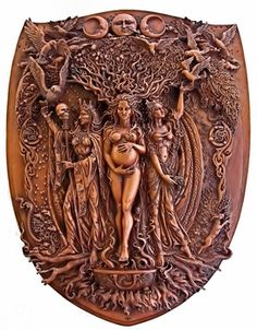 Triple Goddess Wall Plaque - Wood Finish - pagan wiccan witchcraft magick ritual supplies