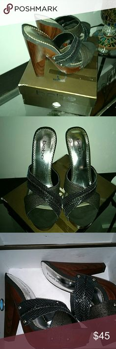 """NWT BEBE Sz 7 Sandals with 4"""" heels NWT Love these Bebe brand super sexy sandals size 7! If only they were in my size..selling for a friend, new in box. Gorgeous BEBE Shoes Sandals"""