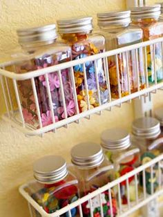 Organize Small Objects In Plastic Jars To Keep Contents Visible