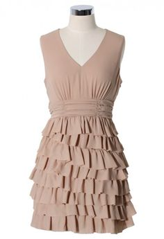 Asymmetric Ruffle Sweetheart Dress in Nude